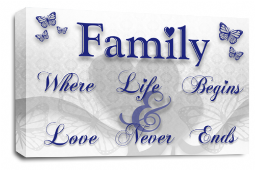 Family Quote Wall Art Picture White Blue Grey Love Print